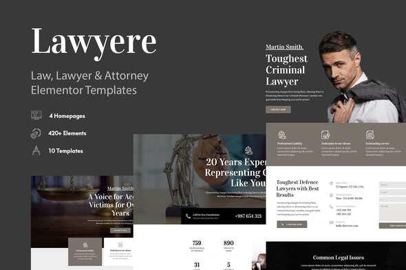 Lawyere - Legal & Attorney Template Kit - Finance & Law Elementor