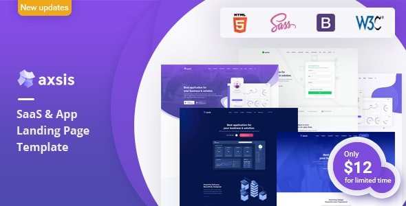 axsis - SaaS & App Landing Page Template - Technology Site Templates