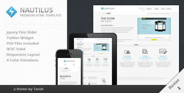 Nautilus One Page Responsive Business Template - Business Corporate