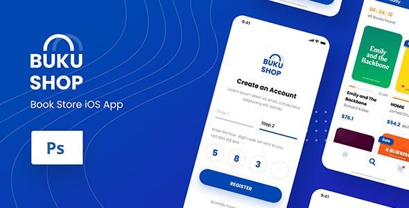 BukuShop - Book Store iOS App Design PSD Template