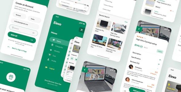 Elexo - Electronic Store iOS App Design PSD Template