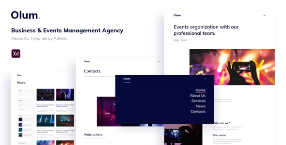 Olum - Business & Events Management Agency Adobe XD Template - Events Entertainment