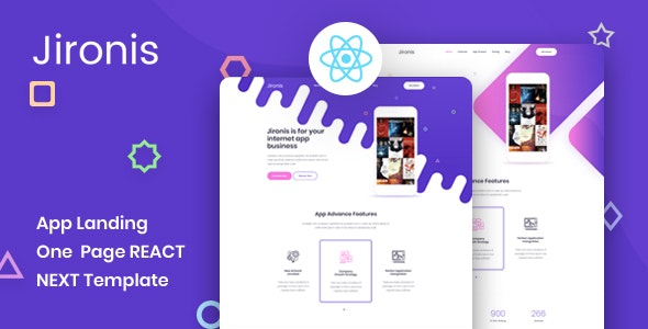 Jironis - React Next App Landing Page Template - Technology Site Templates