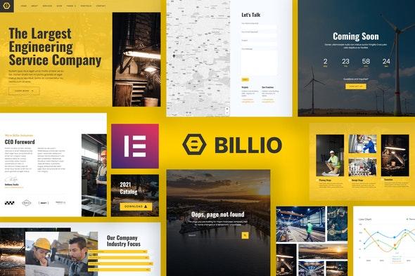 Billio - Engineering Service Template Kit - Real Estate & Construction Elementor