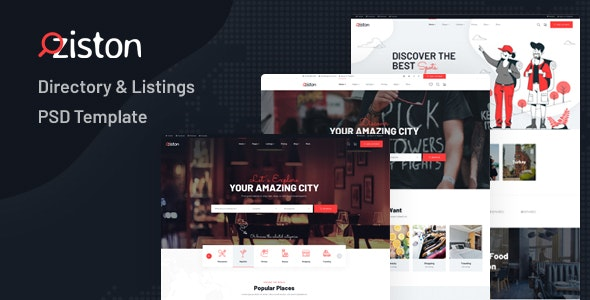 Ziston - Directory & Listings PSD Template - Photoshop UI Templates