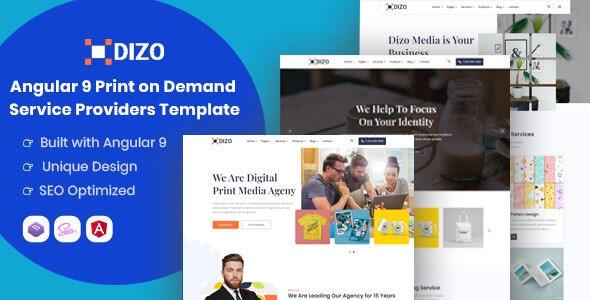 Dizo - Angular 9 Print on Demand Business Template - Corporate Site Templates
