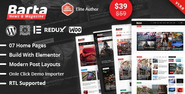 Barta - News & Magazine WordPress Theme - News / Editorial Blog / Magazine