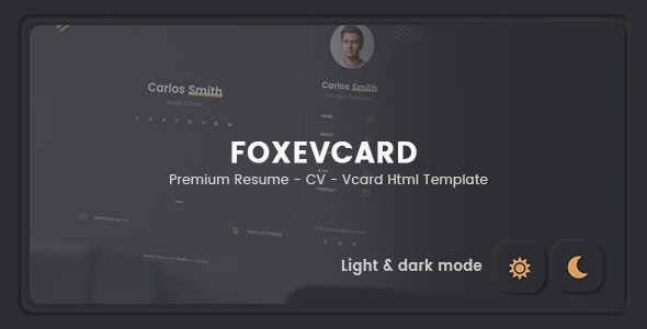 Foxevcard - Premium Resume/ CV Html Template - Virtual Business Card Personal