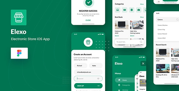 Elexo - Electronic Store iOS App Design Figma Template - Retail Figma