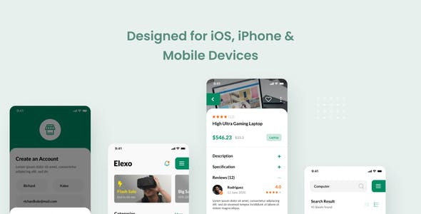 Elexo - Electronic Store iOS App Design Figma Template