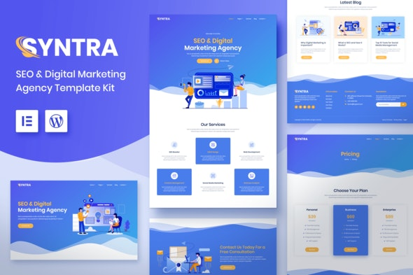 SYNTRA – SEO & Digital Marketing Agency Template Kit - Creative & Design Elementor