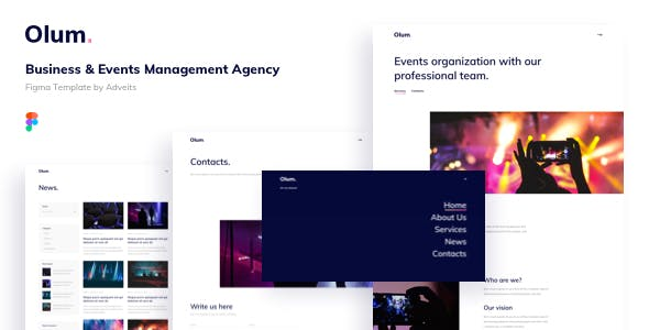 Olum - Business & Events Management Agency Figma Template