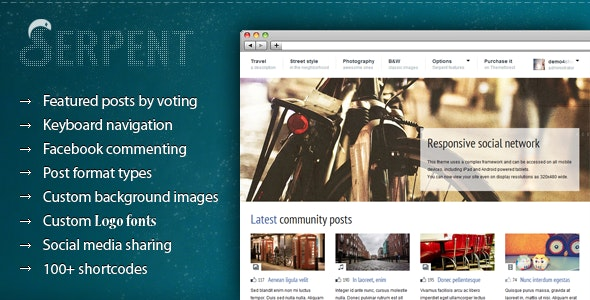 Serpent - Responsive Social Network Theme - Blog / Magazine WordPress