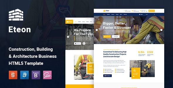 Eteon - Construction and Building HTML5 Template - Business Corporate
