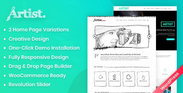 Artist Wordpress Theme - Painter Exhibition Sketch Handcraft Writer Art Pencil Design ShowCase - Creative WordPress