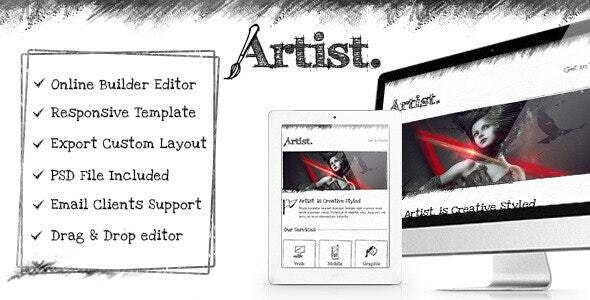 Artist - Responsive Email Template + Builder Access - Newsletters Email Templates