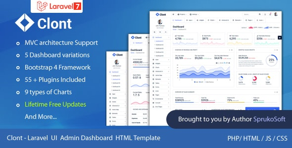 Clont – Laravel Dashboard Template - Admin Templates Site Templates