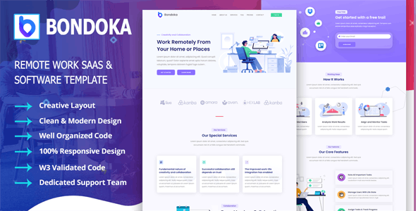 Bondoka - Remote Work Software Agency Template - Software Technology