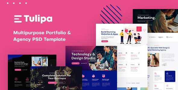 Tulipa - Multipurpose Portfolio & Agency PSD Template - Creative Photoshop