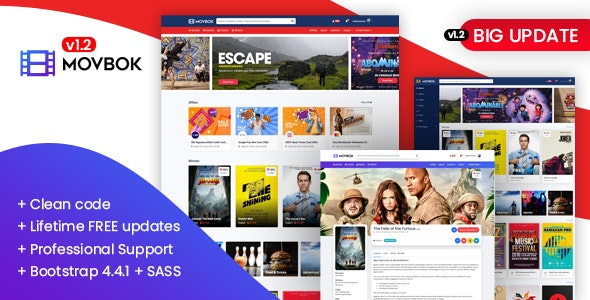 Movbok - Movies, Events, Sports Website HTML Template - Entertainment Site Templates