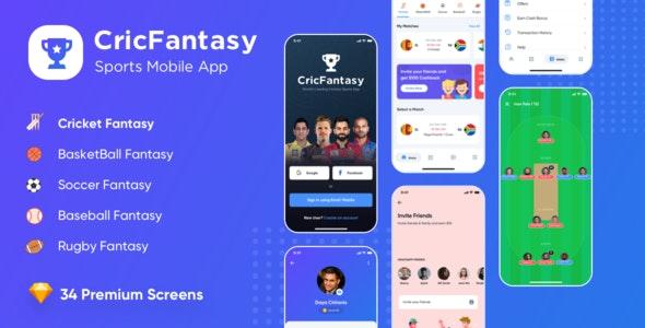 Cricfantasy Sports Mobile App UI Sketch Kit - Entertainment Sketch