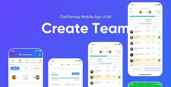 Cricfantasy Sports Mobile App UI Sketch Kit