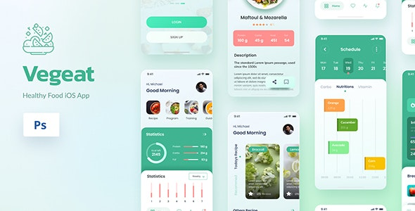 Vegeat - Healthy Food iOS App Design PSD - Retail Photoshop