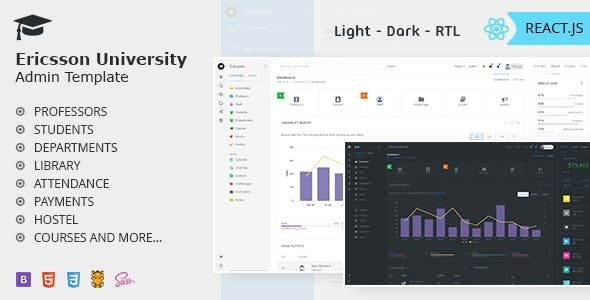 Ericsson React - Admin Template for University, School & Colleges