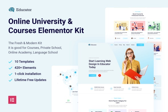 Educator - Online University & Courses Elementor Template Kit - Education Elementor