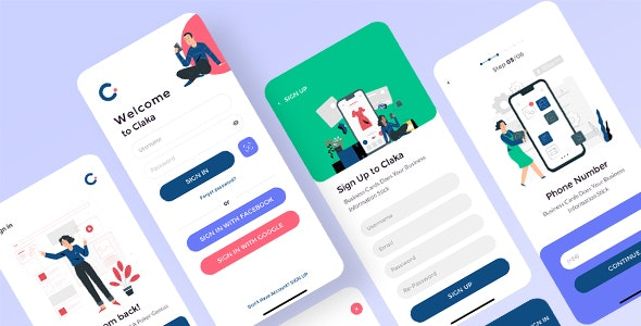 Claka - Sign In and Sign Up - Creative Sketch
