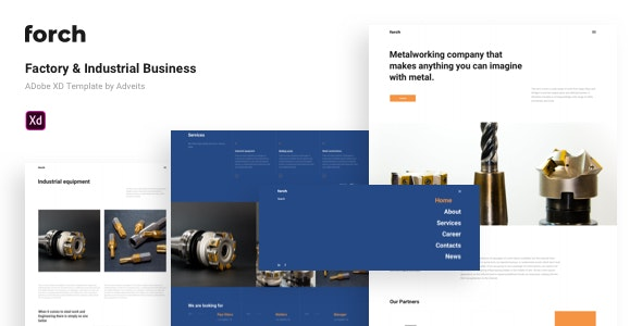 Forch - Factory & Industrial Business Adobe XD Template - Business Corporate
