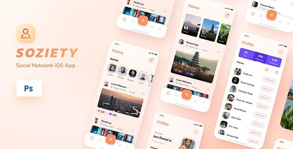 Soziety - Social Network iOS App Design PSD Template