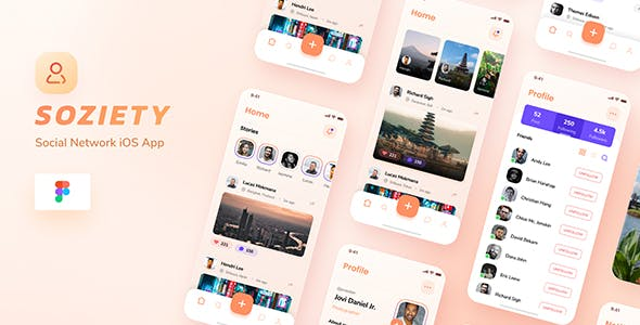 Soziety - Social Network iOS App Design Figma Template