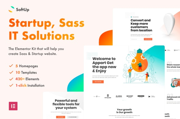 SoftUp - Saas & Startup Elementor Templates - Technology & Apps Elementor