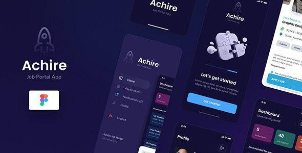 Achire - Job Portal iOS App Design UI Figma Template - Corporate Figma