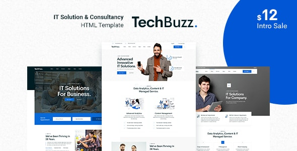 TechBuzz - Technology IT Solutions & Services HTML5 Template - Business Corporate
