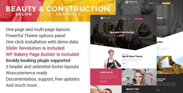 Beauty Salon & Construction Services WordPress Theme - Health & Beauty Retail