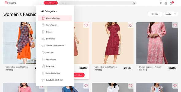 WioStyle - Fashion & Clothing eCommerce Adobe XD Template