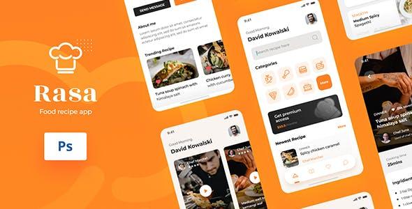 Rasa - Food Recipe iOS App Design UI PSD Template