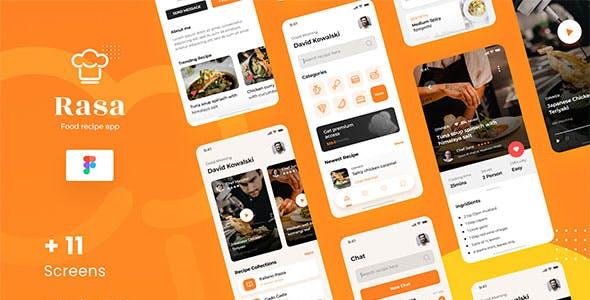 Rasa - Food Recipe iOS App Design UI Figma Template