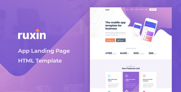 Ruxin - App Landing Page HTML Template - Technology Site Templates