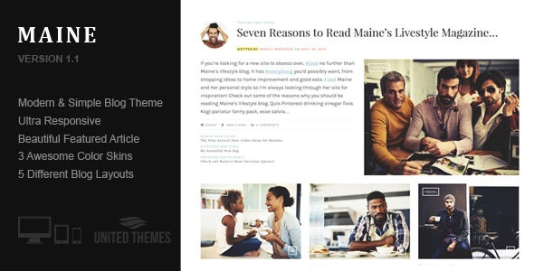 Maine - A Responsive WordPress Blog Theme - Personal Blog / Magazine