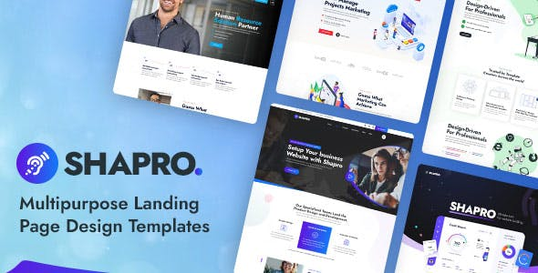 Shapro - Multipurpose Landing Page Design PSD Templates