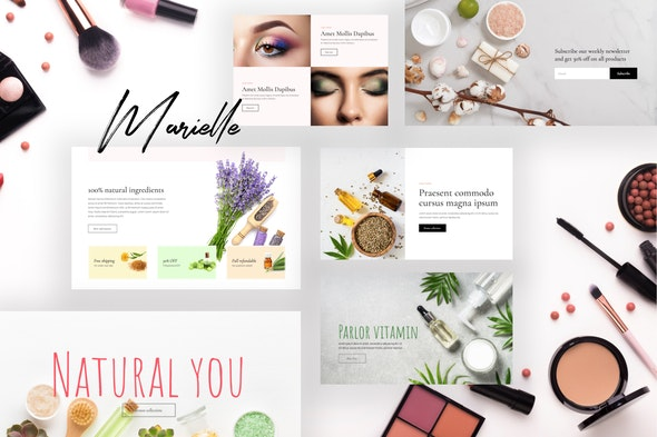 Marielle - Cosmetics and Beauty Shop Template Kits - Fashion & Beauty Elementor