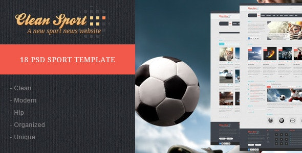 Clean Sport - 18 PSD Template - Entertainment Photoshop
