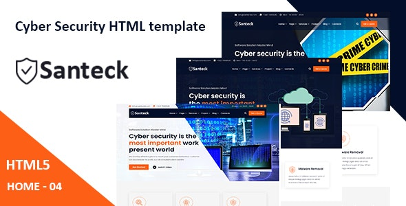 Santeck - Cyber Security & It Services HTML Template - Software Technology