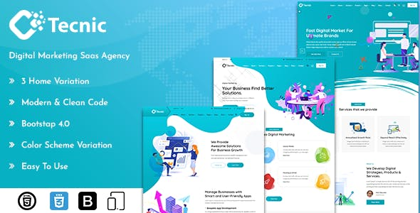 Tecnic - Digital Marketing Template + RTL Ready