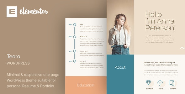 Teoro - CV Resume WordPress Theme - Portfolio Creative