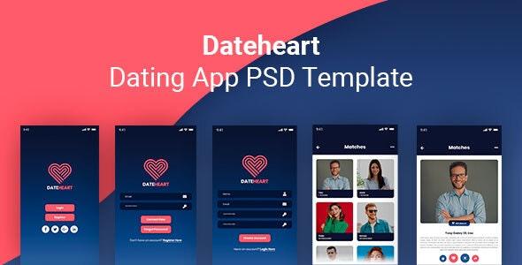 Dateheart - Dating App PSD Template - Photoshop UI Templates