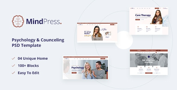 MindPress - Psychology & Counseling PSD Template - Health & Beauty Retail